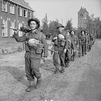 King's Shropshire Light Infantry - Men of the 4th Battalion, King's Shropshire Light Infantry march back from the front line for a four-day rest, 26 October 1944.