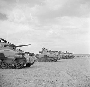 1st (United Kingdom) Division - Sherman tanks of the 2nd Dragoon Guards (Queen's Bays), 1st Armoured Division, at El Alamein, 24 October 1942.