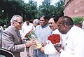 The Chairman, Rajya Sabha Shri Bhairon Singh Shekhawat being greeted on his arrival at the Parliament House on the first day of the monsoon Session by the Dy. Chairman, Shri K. Rahman Khan.jpg