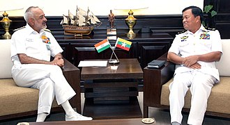 Myanmar Navy - Thura Thet Swe, Vice Admiral of Myanmar Navy meeting with Indian Navy's Admiral D.K. Joshi in 2013