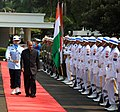 The Defence Minister, Shri A. K. Antony inspecting an Inter-Services Guard of Honour, prior to the first biennial Defence Minister level talks, at Jakarta on October 16, 2012.jpg