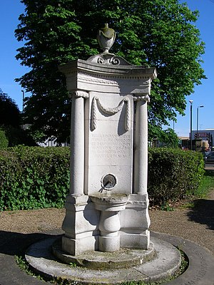 Colliers Wood - The Feeny Monument: memorial fountain inside Wandle Park