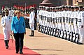 The German Chancellor, Dr. Angela Merkel inspecting the Guard of Honour, at the Ceremonial Reception, at Rashtrapati Bhavan, in New Delhi on October 05, 2015.jpg