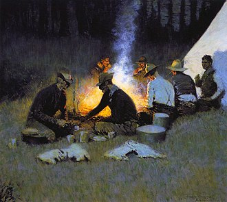 National Cowboy & Western Heritage Museum - The Hunters' Supper (detail) by Frederic Remington, circa 1909