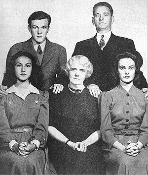 The O'Neills - The O'Neills in January 1941 Seated from left: Janice Gilbert (Janice), Kate McComb (Mother O'Neill), Claire Neisen (Peggy). Standing from left: Jimmy Donnelly (Eddie) and James Tansey (Danny)