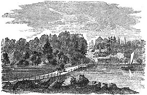 Grays Ferry, Philadelphia - The Floating Bridge across the Schuylkill River at Gray's Ferry was originally built by the British during their 1777-78 occupation of Philadelphia. This was the primary entrance to the city for travelers from the south until it was replaced by a permanent bridge in 1838.