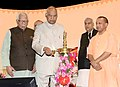 The President, Shri Ram Nath Kovind lighting the lamp to inaugurate the 'One District One Product' Summit, at Lucknow, in Uttar Pradesh.JPG