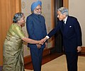 The Prime Minister, Dr. Manmohan Singh and his wife Smt. Gursharan Kaur meeting with His Majesty the Emperor Akihito of Japan, in Tokyo, on October 22, 2008.jpg
