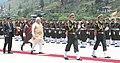 The Prime Minister, Shri Narendra Modi inspecting the Ceremonial Guard of Honour, on his arrival at Paro International Airport, in Bhutan on June 15, 2014.jpg