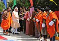The Prime Minister, Shri Narendra Modi meeting the officials, before his departure from Bhutan, in Thimphu, on June 16, 2014. The Prime Minister of Bhutan, Mr. Lyonchhen Tshering Tobgay is also seen.jpg