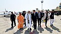 The Prime Minister, Shri Narendra Modi receiving the President of the French Republic, Mr. Emmanuel Macron, on his arrival, at Varanasi, Uttar Pradesh.jpg