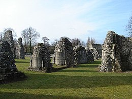 A photograph of the modern ruins of Thetford Priory