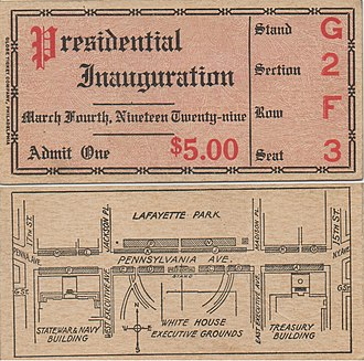 Inaugural Parade ticket for President Herbert Hoover, March 4, 1929 Ticket of Inauguration of Herbert Hoover March 4, 1929.jpg
