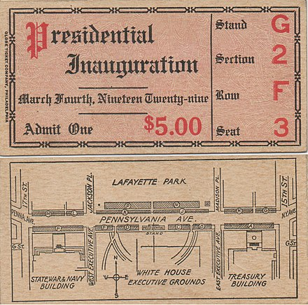 Inaugural parade ticket Ticket of Inauguration of Herbert Hoover March 4, 1929.jpg