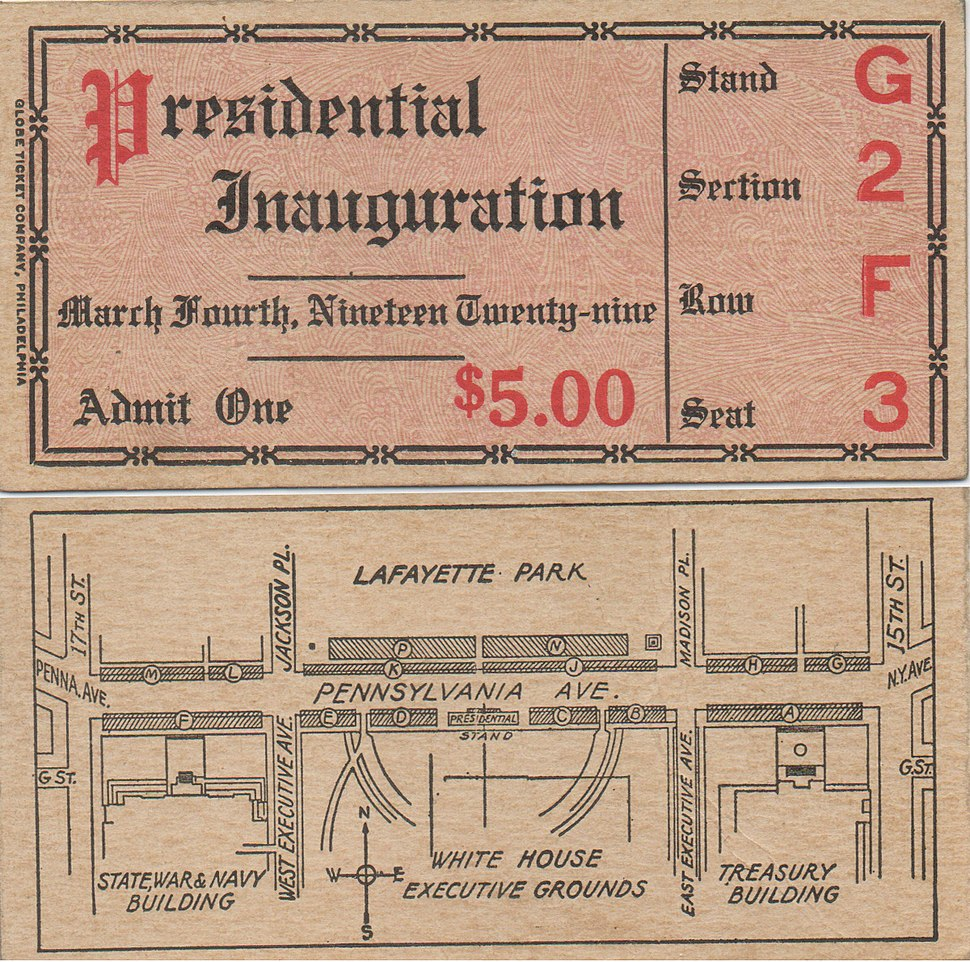 Ticket of Inauguration of Herbert Hoover March 4, 1929