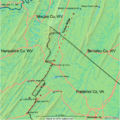 Timber Ridge (map of), on the border of VA and WV (USA).png