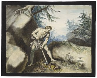 Timon of Athens - Drawing by Johann Heinrich Ramberg of Timon and the gold: Act IV, Scene iii.
