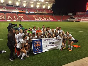Timpview High School - Timpview Girl's Soccer after their first State Championship win in 2016