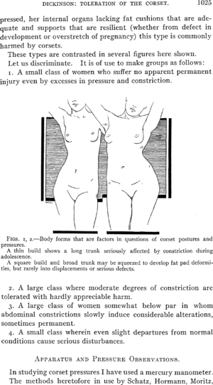 """Robert Latou Dickinson - A page from R. L. Dickinson's treatise, """"Toleration of the Corset"""" in the American Journal of Obstetrics and Diseases of Women and Children, June 1911"""