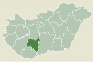 Fadd, Hungary - Location of Tolna county in Hungary