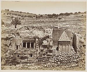 Tomb of Zechariah - 1870 photo by Felix Bonfils: Tombeau de saint Jacques et de Zacharie