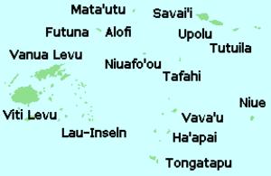 Tuʻi Tonga Empire - Image: Tonga Samoa Fidschi