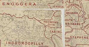 Town of Toowong - Map of Shire of Toowong and adjacent local government areas, March 1902
