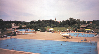 Topusko - Topusko spa resort with St. Mary's church in the background