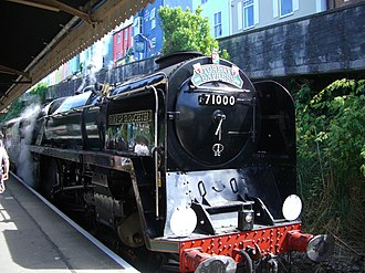 Torbay Express - BR Standard Class 8 Locomotive 71000 Duke Of Gloucester arrives at Kingswear railway station in August 2011 as the Torbay Express.