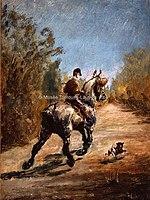 Toulouse-Lautrec - CAVALIER AU TROT AVEC UN PETIT CHIEN, 1879, MTL.3.jpg