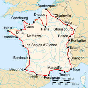 Route of the 1927 Tour de France followed counterclockwise, starting in Paris