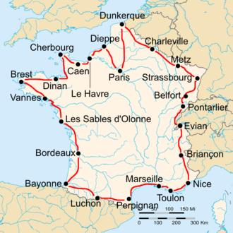 1927 Tour de France - Route of the 1927 Tour de France Followed counterclockwise, starting in Paris