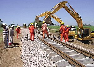 Belgrano Cargas y Logística - Railway workers laying track on the Belgrano Railway under the new investment plans.