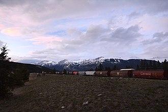 Jasper, Alberta - Train and elk in Jasper