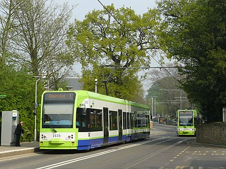 Trams passing in front of Lebanon Road stop