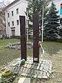 Transylvanian wooden headboards. At the Gyöző Street's Entrance of the University of Physical Education - Budapest 12.JPG