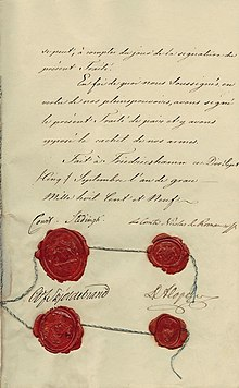 Description de l'image Treaty of Fredrikshamn last page signatures.jpg.