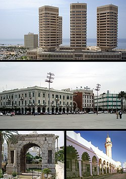 Top:: That El Emad Towers; Middle: Martyrs' Square; Bottom left: Marcus Aurelius Arch; Bottom right: Souq al-Mushir - Tripoli Medina