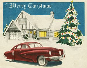 Preston Tucker - Tucker Corporation Christmas Card, 1947. The card illustrates the basic design of the 1948 Tucker, but with non-production trim.