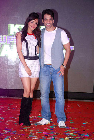 Tusshar Kapoor - Kapoor with Neha Sharma during audio release of Kyaa Super Kool Hain Hum
