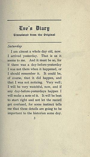 Eve's Diary - Image: Twain Eve's Diary, p. 003