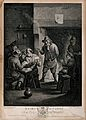 Two men play cards at a table as others watch and smoke by t Wellcome V0019049.jpg