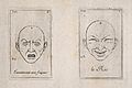 Two outlines of faces showing astonishment and fear (left) a Wellcome V0009387.jpg