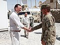 U.S. Army Col. Andrew Rohling, the commander of the 173rd Airborne Brigade Combat Team, greets Czech Republic Prime Minister of Petr Necas, left, at Forward Operating Base Shank, Logar province, Afghanistan 120902-A-ZZ999-047.jpg