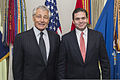 U.S. Secretary of Defense Chuck Hagel, left, poses for a photo with Colombian Minister of Defense Juan Carlos Pinzon at the Pentagon in Arlington, Va., May 1, 2013 130501-M-EV637-065.jpg