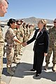 U.S. Secretary of State Hillary Rodham Clinton, second from right, exchanges greetings with Spanish Army Maj. Maria Sanfafosta while visiting Kabul International Airport in Kabul, Afghanistan, July 7, 2012 120707-N-YZ252-096.jpg