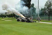 U.S. Soldiers fire ceremonial cannons before the start of the change of command ceremony for the 19th Expeditionary Sustainment Command at Kelly Field in Camp Walker, Republic of Korea, June 30, 2011 110630-A-OU471-341.jpg