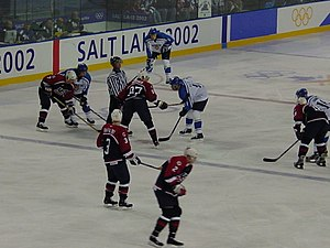Ice hockey at the 2002 Winter Olympics - The United States and Finland competing at the 2002 Winter Olympics