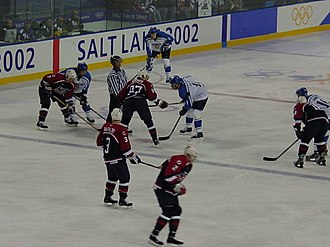 Ice hockey at the 2002 Winter Olympics - The United States and Finland men's teams play. The United States won, 6–0.
