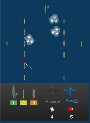 Initial attacks on Midway transport group.1. Light cruiser Jintsu, flagship 2. Destroyers 3. Transports 4. B-17 attack, 17:00 06/03/1942 5. PBY torpedo attack 01:00 06/04/1942
